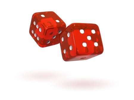 Rolling Red Semi-Transparent Dice