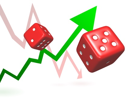 Rolling dice represent taking chances and risks to achieve success or failure symbolised by rising and falling arrows.