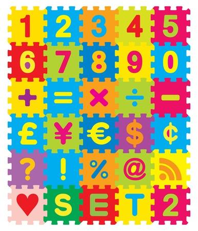 Number, Maths and Symbols Puzzle Set Illustration