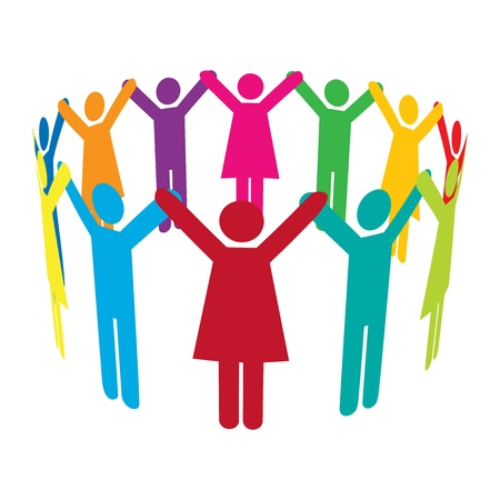 Colourful people holding hands high up in a circle. Illustration
