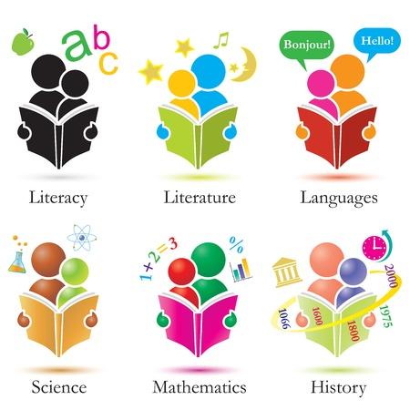ni�os leyendo: Vector estudio junto iconos conjunto