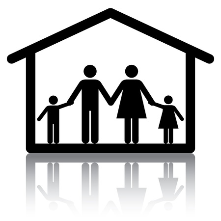 Family holding hands inside a home.  Conceptual image or icon for subjects related to family home and housing. Vector