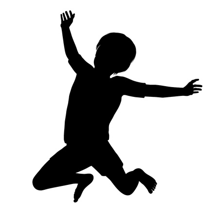 Silhouette d'un enfant sain jeune sautant haut dans les airs Vecteurs