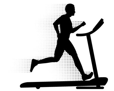 actividad fisica: Hombre corriendo en una cinta con un registro de movimientos de medios tonos Vectores