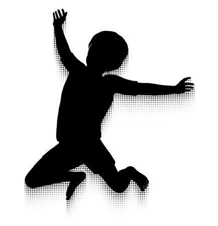 kind silhouet: Silhouet van een gelukkig kind springen hoog in de lucht met een halftoon patroon Motion Trail