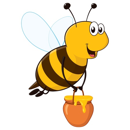 Happy cartoon bee flying around with a brimful jar of delicious honey Vector