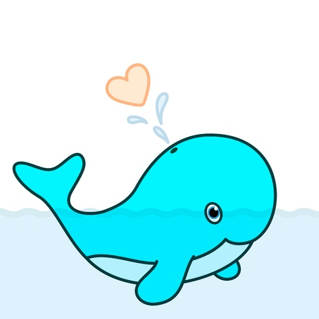 cartoon whale: Cute baby whale cartoon character blowing a heart water splash