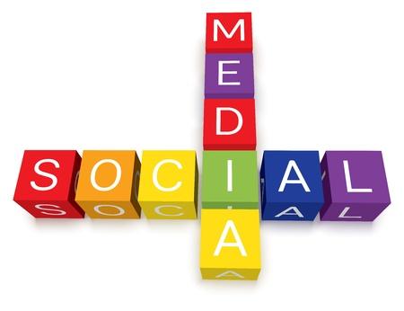 kocka: színes social media keresztrejtvény blokkok