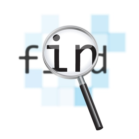 Vector internet search conceptual image  Magnifying glass focusing on the word find against a defocused pixelated digital abstract background  Illustration