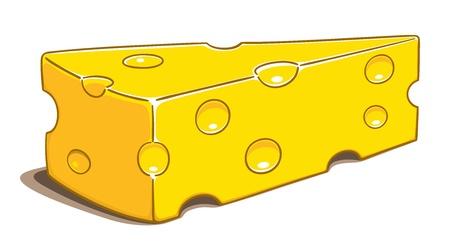 kaas: Stukje kaas geà ¯ soleerd op een witte achtergrond, geen hellingen Stock Illustratie