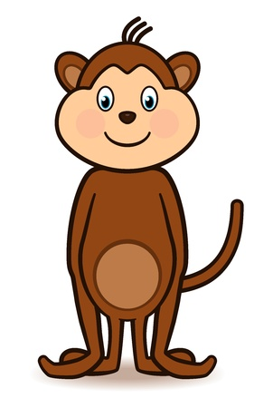 Cartoon character monkey standing with a big smiling face, arms to the side and tail lifted high  Иллюстрация