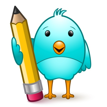 Cartoon character bird standing holding a giant pencil