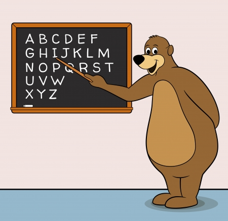 Bear teacher cartoon character with blackboard & alphabet Vector