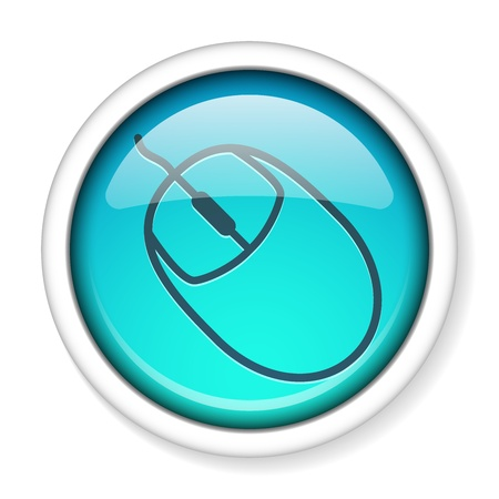Computer mouse icon inside a round glossy shiny button, EPS10