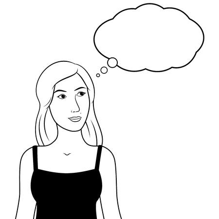 Pensive thinking woman & bubble. Black & white line art. EPS8.