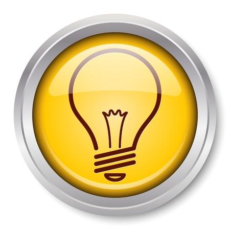 bombilla: Bombilla Icono de bot�n met�lico brillante Vectores