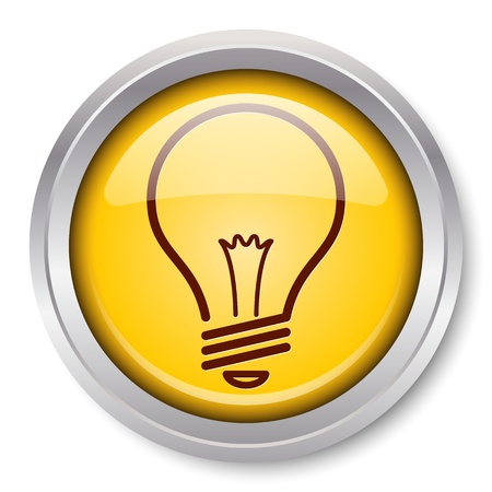 light bulb idea: Light Bulb Icon Glossy Metallic Button