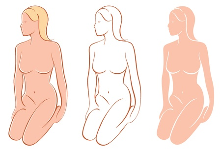 Three variations of a beautiful female figure shape - colored with highlights, line art drawing and a silhouette Иллюстрация