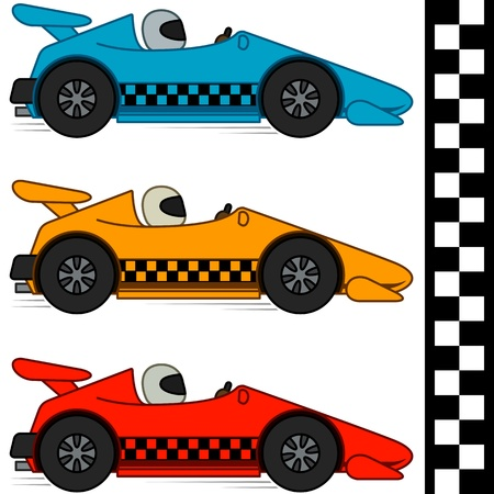 car side view: Racing cars and Finishing Line, Isolated, No Gradients