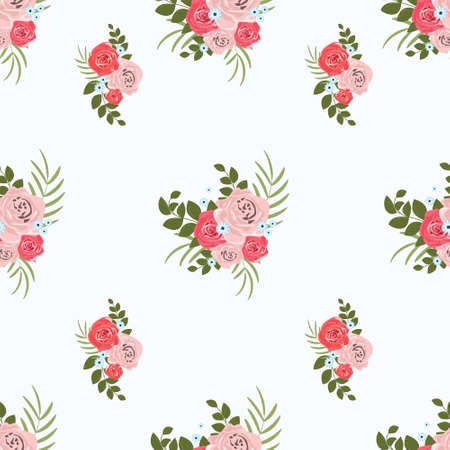 Pattern of bouquets of roses. Plant design for fabric, cloth design, covers, manufacturing, wallpapers, print, gift wrap and scrapbooking, banner, poster, card, invitation and scrapbook. Vector illustration.