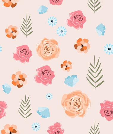Floral pattern from different colors. Flat flowers. Illustration for postcard, poster, banner, flyer. Vector illustration.