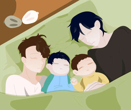 Gay is a couple with their children. Family morning. Fathers with their children. Happy Family Day. LGBT people. Vector illustration. Vetores