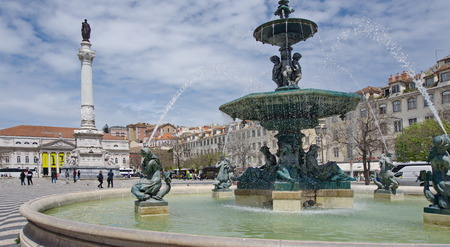 Fountains of the Rossio square in Lisbon