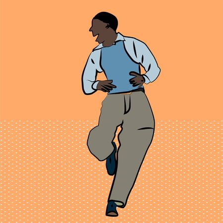 A old man African-American dances. Isolated by a male silhouette on an orange background. A man wearing pants, shirt and vest. The African man runs and says.