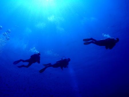 Three scuba divers in silhouette
