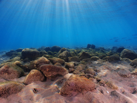 Sun rays fall on to rocks underwater. Stock Photo
