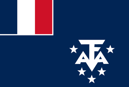 National flag of French southernd antarctic lands. Background  with flag of French southernd antarctic lands..