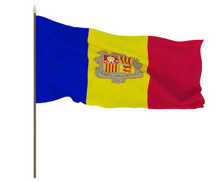 National flag of Andorra. Background for editors and designers. National holiday