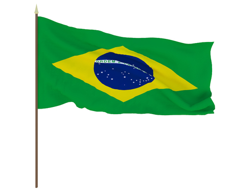 National flag of Brazil. Background for editors and designers. National holiday
