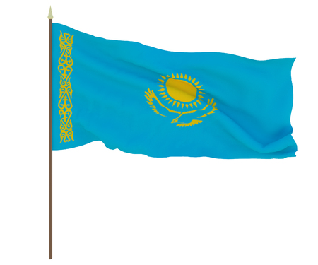 National flag of Kazakhstan. Background for editors and designers. National holiday
