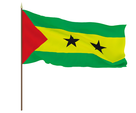 National flag of Sao tome and principe. Background for editors and designers. National holiday