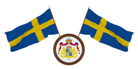 National Flag and the coat of arms of Sweden,. Background for editors and designers. National holiday. 3D illustration