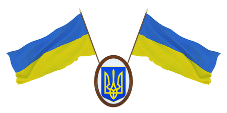 National Flag and the coat of arms of Ukraine. Background for editors and designers. National holiday. 3D illustration