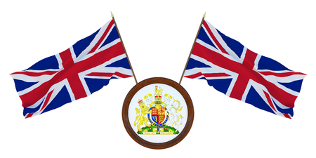National flag and the coat of arms of United Kingdom. Background for editors and designers. National holiday. 3D illustration