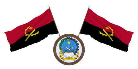 National flag and the coat of arms of Angola. Background for editors and designers. National holiday. 3D illustration
