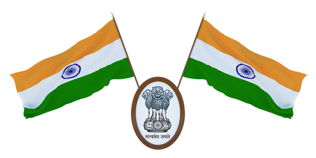 National flag and the coat of arms of India. Background for editors and designers. National holiday. 3D illustration