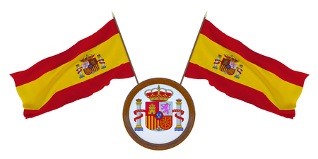 National flag and the coat of arms of Spain. Background for editors and designers. National holiday. 3D illustration