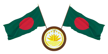 National Flag and the coat of arms of Bangladesh,. Background for editors and designers. National holiday. 3D illustration
