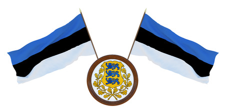 National Flag  and the coat of arms of Estonia. Background for editors and designers. National holiday. 3D illustration