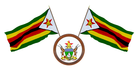 National flag and the coat of arms 3D illustration of Zimbabwe. Background for editors and designers. National holiday