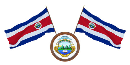 National flag and the coat of arms 3D illustration  of Costa Rica. Background for editors and designers. National holiday