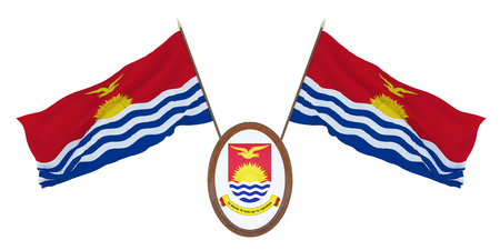 National flag and the coat of arms 3D illustration of Kiribati. Background for editors and designers. National holiday Stockfoto
