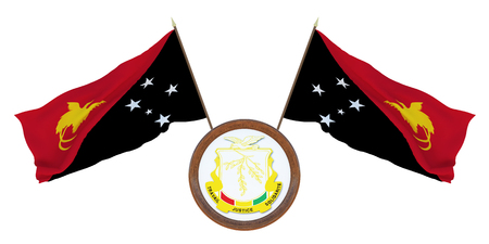 National flag and the coat of arms 3D illustration of Guinea. Background for editors and designers. National holiday Papua New Stockfoto