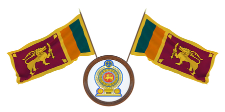 National flag and the coat of arms 3D illustration of Sri Lanka. Background for editors and designers. National holiday Stockfoto