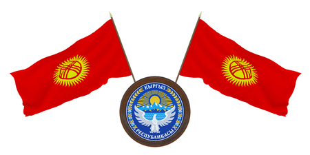 National flag and the coat of arms 3D illustration of Kyrgyzstan. Background for editors and designers. National holiday Stockfoto