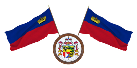 National flag and the coat of arms 3D illustration of Liechtenstein. Background for editors and designers. National holiday